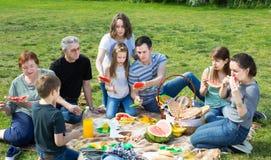 Skratta folk som sitter och talar på picknick Arkivfoton