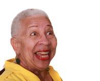 skratta kvinna för afrikansk amerikan Arkivfoto
