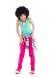 Skratta liitleflickan med afro hår Royaltyfri Fotografi