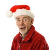 skratta man gammala santa för hatt Arkivfoto