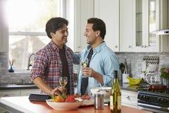 Skratta manliga glade par som dricker vin och att förbereda ett mål royaltyfria foton