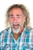 Skratta mannen med långt hår Royaltyfria Foton