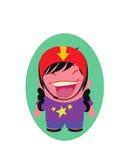 Skratta och le den unga damen Funny Avatar av lilla Person Cartoon Character i plan vektor Royaltyfria Bilder