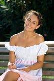 skratta park för flicka Royaltyfri Fotografi