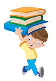 Skratta pojken med böcker Arkivbilder