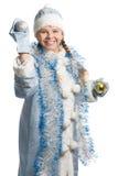 skratta snow för flicka Arkivbilder