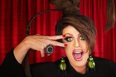 Skratta transvestiten arkivfoton