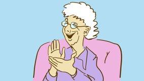 Skrattar applåderar den äldre damen för tecknade filmen och henne händer rolig granny Royaltyfria Bilder