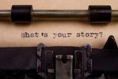 skrev ord på en tappningskrivmaskin Arkivbild
