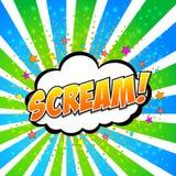 Skri! Komisk anförandebubbla, tecknad film. Royaltyfri Foto