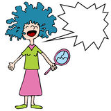 Skriande flicka med dålig permanent stock illustrationer