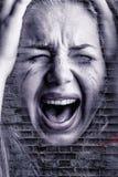 skriande kvinna Arkivbild