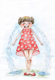Skriande liten flicka. vattenfärg Royaltyfri Fotografi