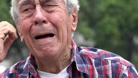Crying And Upset Old Man Stock Footage