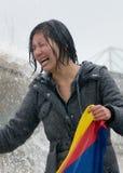 skriande tibetan kvinna Royaltyfri Fotografi