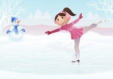 Skridskoåkningliten flicka och kastar snöboll Royaltyfria Bilder