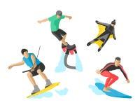 Skridsko för rulle för skateboarder för skydiver för hastighet för uppsättning för skateboard för liv för illustration för extrem Royaltyfria Bilder
