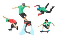 Skridsko för rulle för skateboarder för skydiver för hastighet för uppsättning för skateboard för liv för illustration för extrem Arkivfoton