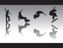 skridsko för silhouettes iii Arkivfoto