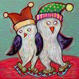 Skridsko för pingvinparis, digital målning Royaltyfri Fotografi