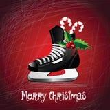 Skridskor för glad jul stock illustrationer