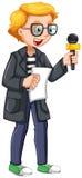 Skrift och mikrofon för nyheternareporterinnehav royaltyfri illustrationer