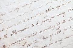 Skrifthandstil från sent det 18th århundradet Fotografering för Bildbyråer