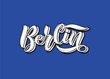 Skriftlig bokstäver för hand för stadsnamnet Berlin royaltyfri illustrationer
