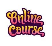 Skriftlig bokstäver för online-kursvektorhand royaltyfri illustrationer