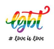 Skriftlig bokstäveraffisch för glad hand LGBT-rättbegrepp royaltyfri illustrationer