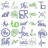 Skriftlig illustration för gullig hand Vektorn skissade et-tecken och slagordar Dekorativa calligraphic detailes Blått gröna färg royaltyfri illustrationer