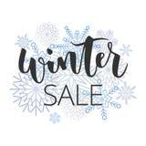 Skriftlig inskrift för vinterförsäljningshand Royaltyfri Bild