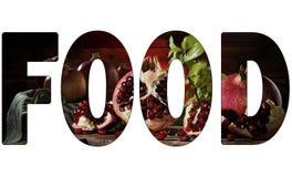 Skriftlig MAT med granatäpplebakgrund som isoleras på vit bakgrund fotografering för bildbyråer