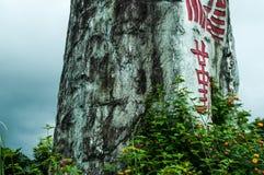 Skriftlig sten i natur Fotografering för Bildbyråer