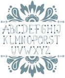 Skriftliga abcbokstäver för hand Arkivbilder