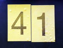 Skriftliga formuleringar i bekymrad statlig typografi funnit nummer fyrtio en 41 Royaltyfri Fotografi