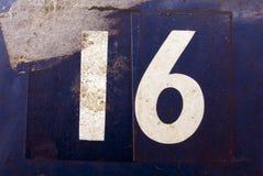 Skriftliga formuleringar i bekymrad statlig typografi funnit nummer 16 sexton Arkivbilder