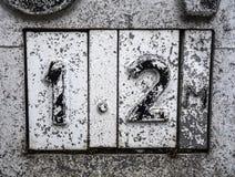 Skriftliga formuleringar i bekymrad statlig typografi funnit nummer 12 tolv Arkivfoto