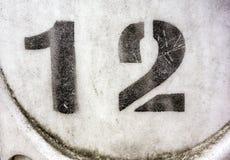 Skriftliga formuleringar i bekymrad statlig typografi funnit nummer 12 tolv Royaltyfri Foto