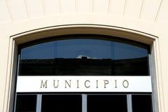 Skriftligt italienskt STADSHUS i den italienska staden Arkivbilder