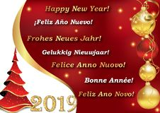 Skriftligt lyckligt nytt år 2019 - i 7 språk stock illustrationer