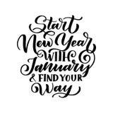 Skriftligt vinteruttryck för hand om januari som isoleras på vit bakgrund Svart kalligrafiaffisch Stort tryck för din design stock illustrationer