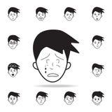 skrik på framsidasymbolen Detaljerad uppsättning av ansikts- sinnesrörelsesymboler Högvärdig grafisk design En av samlingssymbole vektor illustrationer