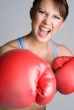 skrika för boxningkvinna Arkivbilder