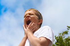 skrika för pojkemenpreteen Fotografering för Bildbyråer