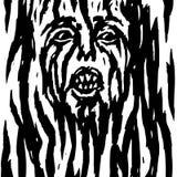 Skrikig demon med den blödande framsidan för kvinna` s också vektor för coreldrawillustration Arkivbilder