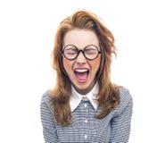 Skrikig geek eller tokig flicka som isoleras på vit Fotografering för Bildbyråer
