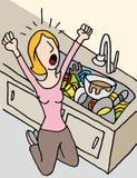 Skrikig kvinna som gör disk stock illustrationer