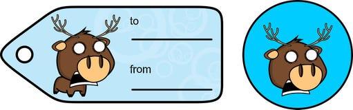 Skrikig liten knubbig klistermärke för giftcard för hjorttecknad filmexprression Arkivfoto