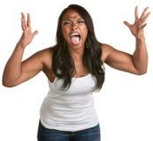 Skrikig svart kvinna fotografering för bildbyråer
